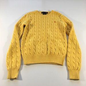 Ralph Lauren Yellow Girls Cable Knit Sweater XS
